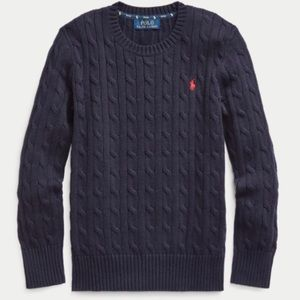 Polo-Ralph Lauren Navy Blue Cable Knit Crew Neck